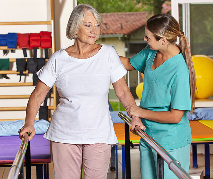 Patient recovering with physical therapy